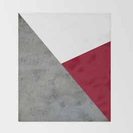 Concrete Burgundy Red White Throw Blanket