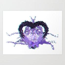 Anaglyph - romantic swan couple Art Print