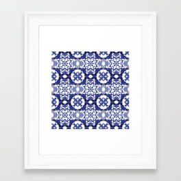 Portuguese Tiles Azulejos Blue and White Pattern Framed Art Print