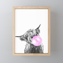 Bubble Gum Highland Cow Black and White Framed Mini Art Print