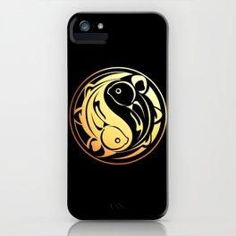 Yin Yang Fish:  Gold on Black iPhone Case