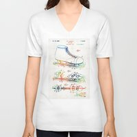 blackhawks V-neck T-shirts featuring Ice Skate Patent - Sharon Cummings by Sharon Cummings