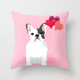 French Bulldog love hearts balloons frenchies white and black spot dog breed gifts Throw Pillow