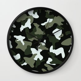 Green White camo camouflage army pattern Wall Clock
