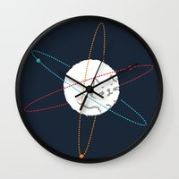 physics Wall Clocks featuring Cat-ion by Picomodi