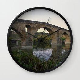 Medieval Bridge - Puente la Reina, Camino to Santiago de Compostela Wall Clock