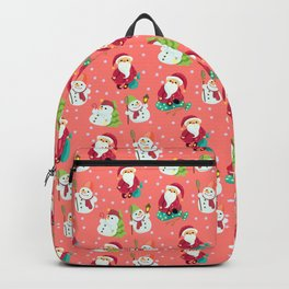 Pink Winter Forest with Cute Snowmen and Santas Backpack