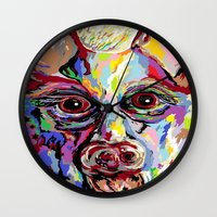 german shepherd Wall Clocks featuring German Shepherd by EloiseArt