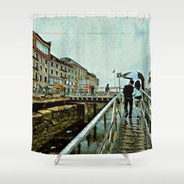 Boston Rain: Exit Gate 3 Shower Curtain