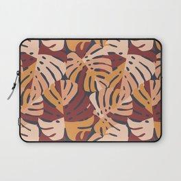 Color Block Monstera Leaves in Maroon Laptop Sleeve
