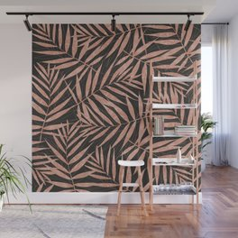 Elegant rose gold Tropical leaves Wall Mural