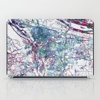 portland iPad Cases featuring Portland map by MapMapMaps.Watercolors