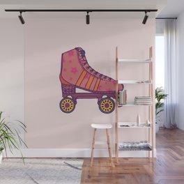 Pink  Rollerskate Wall Mural