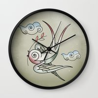 sparrow Wall Clocks featuring Sparrow by Vin Zzep