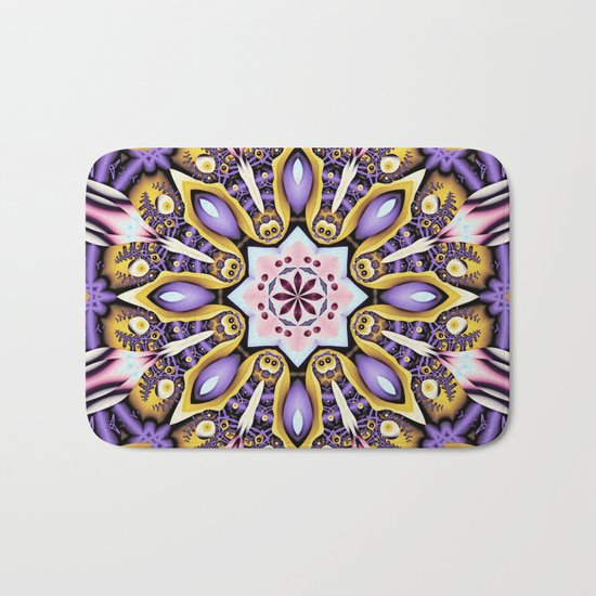 Kaleidoscope in purple, pink, gold and blue Bath Mat