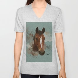 Brown and White Horse Watercolor Light Unisex V-Neck