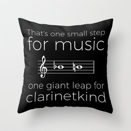 Crossing the break (clarinet) - white text for dark t-shirts Throw Pillow