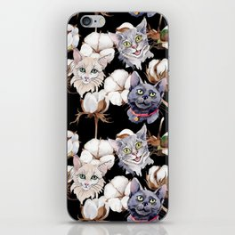 Cotton Flower & Cat Pattern on Black 02 iPhone Skin