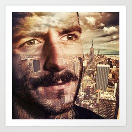Double exposure portrait in nyc Art Print