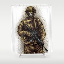 Soldier | War Weapon Defense Attack Military Gift Shower Curtain