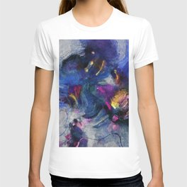 Contemporary Abstract Art in Blue and Yellow T-shirt