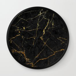 Gold Glitter and Black Marble Wall Clock