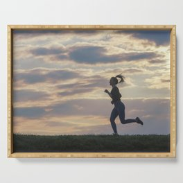 Running woman morning workout. Female Runner. Jogging during sunrise. Workout in a Park. Sporty Serving Tray