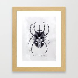 Monotype horned beetle black Framed Art Print