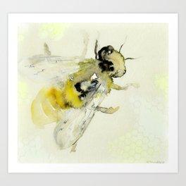 Bee with Honeycomb I Art Print