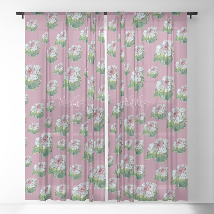 PINK AND WHITE FLOWER Sheer Curtain