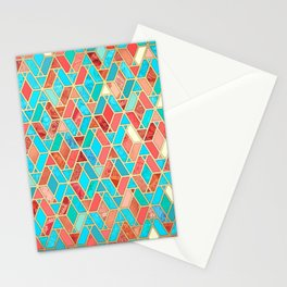 Melon and Aqua Geometric Tile Pattern Stationery Cards
