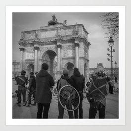 Cyclists, Le Louvre, Paris Art Print