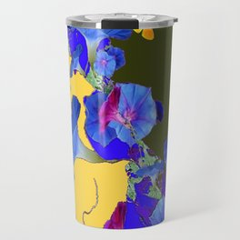 Yellow-Sage Color Yellow Butterflies Blue Morning Glories Art Travel Mug
