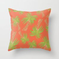 palm trees Throw Pillows featuring Palm Trees by Allyson Johnson