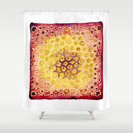 Under the Scope - Diatom - Red Palette Shower Curtain