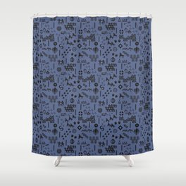 Peoples Story - Black on Blue Shower Curtain