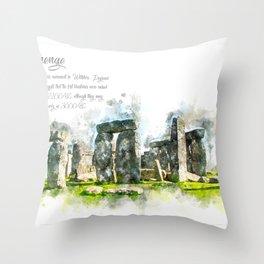 Stonehenge, England, Watercolor Throw Pillow