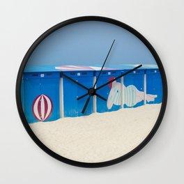 Beach cabins Wall Clock