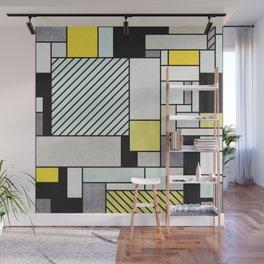 Random Concrete Pattern - Yellow, Blue, Grey Wall Mural