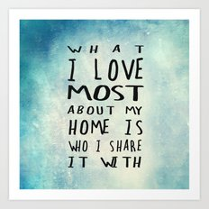 What I like about my home Art Print