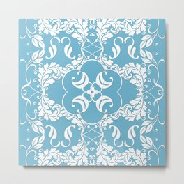 Blue Leaf Lace Metal Print
