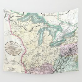 Vintage Map of The Great Lakes & Midwest (1801) Wall Tapestry