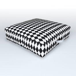 mini Black and White Mini Diamond Check Board Pattern Outdoor Floor Cushion