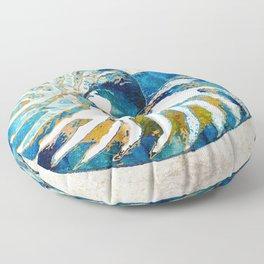 Beachy Art - Nautilus Shell Bleu - Sharon Cummings Floor Pillow