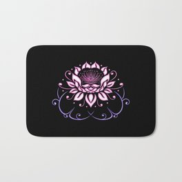 Lotus flower with leaves. Pink Yoga. Bath Mat