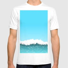 Wave White MEDIUM Mens Fitted Tee