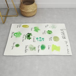 Greens -a watercolor collection of shades Rug