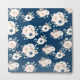 Dog Rose Pattern Metal Print