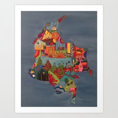 Blue Colombia Art Print