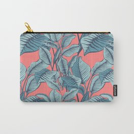 Pink Exotic Tropical Banana Palm Leaf Print Carry-All Pouch